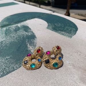 Statement Earrings Vintage Colorful Gold 2 for $15